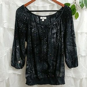 New DRESS BARN Sequined Peasant Blouse Q35